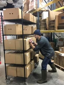 JustCut Team Meber, Josh, Packing out an Order